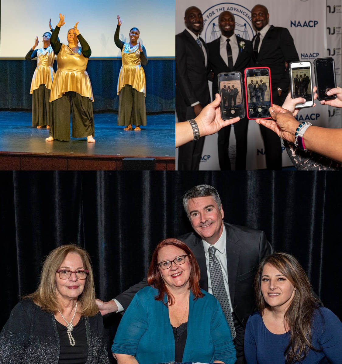 There are three pictures. In the upper left, three women are performing a dance. In the upper right, three men are posing in front of the NAACP logo. At the bottom, a group of three business people (one man and three woman) are seated and smiling.