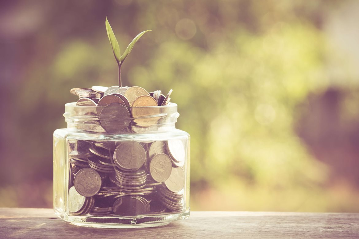 Seedling growing out of a jar filled with coins